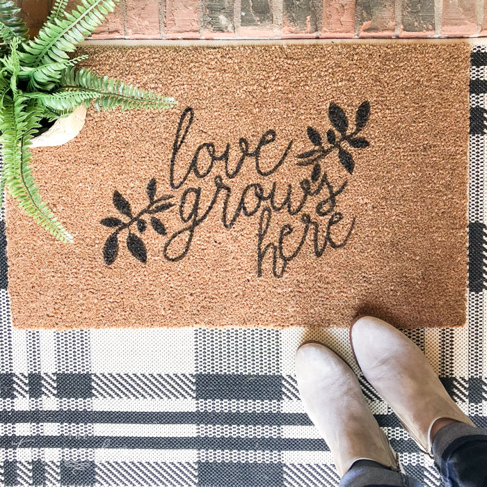 Love Grows Here DIY Doormat