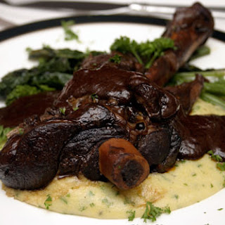 Braised Lamb Shanks in a Red Wine and Chocolate Sauce