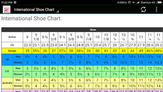 And Kids Shoe Size Chart Converter Screenshot Thumbnail