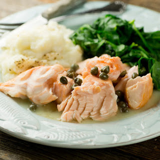 Salmon in Buttered White Wine Sauce.