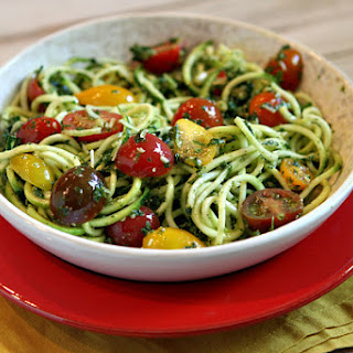 Pesto Spaghetti Zoodles with Heirloom Grape Tomatoes
