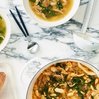 Lemony Chicken Soup With Farro, White Beans, and Kale