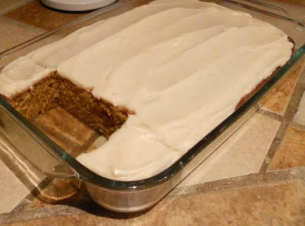 Pumpkin Spice Cake Wcream Cheese Icing Recipe 2 Just A Pinch