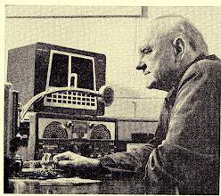 Photo: Frank O. Stewart W6KWT operates from the Lighthouse Radio Club for the Blind (WA6LMT) located at 1097 Howard Street in San Francisco, CA  in 1961