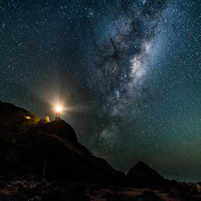 Galaxy Lighthouse by Graeme Carlisle - Landscapes Starscapes ( stars, lighthouse, universe, nightscapes, galaxy )