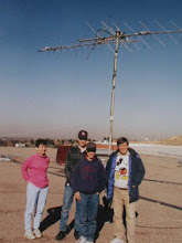Photo: Space Shuttle Antennas , on the roof of Franklin Jr High , Pocatello, checking the antenna system. Right KØIP