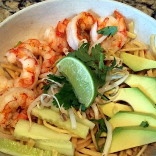 15-Minute Asian Noodle Bowl with Grilled Shrimp.