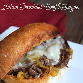 Slow Cooker Italian Shredded Beef Hoagie Sandwiches.
