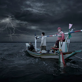 Three Fishermen by Al Hilal - People Body Art/Tattoos ( thunder lightning, boat, fisherman )