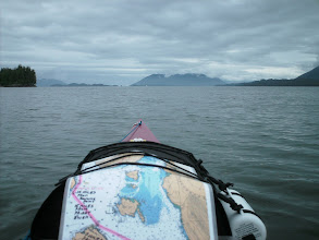 Photo: Grenville Channel comes to an end, as Kennedy Island looms in the distance, it's summit in the clouds.