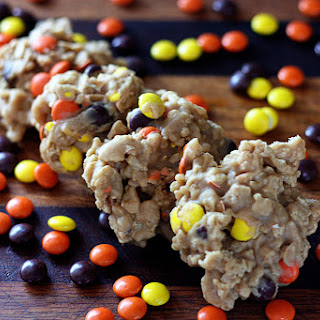 Reeces Pieces Drop Cookies {No Bake}.