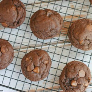 Chocolate Cookies with Chocolate Caramel Chips.
