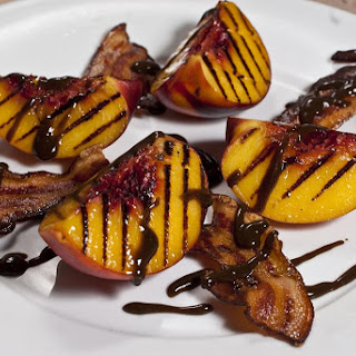Grilled Peaches and Crispy Double Smoked Bacon with Balsamic Reduction.