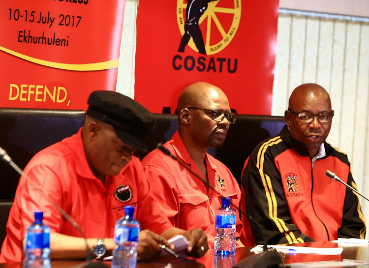 Enough: Cosatu deputy general secretary Solly Phetoe, left, SACP deputy general secretary Solly Mapaila and Cosatu general secretary Bheki Ntshalintshali speak on Tuesday about Wednesday's nationwide protests against state capture and corruption. Picture: SIMPHIWE NKWALI