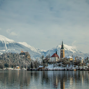 by Mario Horvat - Landscapes Mountains & Hills ( water, mountains, winter, sky, cold, church, snow, bled, lake )