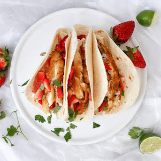 Strawberry Rhubarb Tilapia Tacos.
