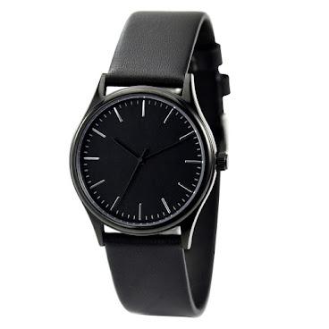 簡約幼條釘手錶全黑