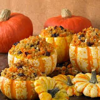 Pumpkins Stuffed With Quinoa, Butternut and Cranberries.