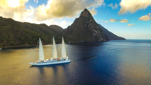 Ponant-St-Lucia-Le-Sourfrier-Le-Ponant.jpg - Book a winter cruise on Le Ponant to sail by St. Lucia and enjoy the majestic Pitons.