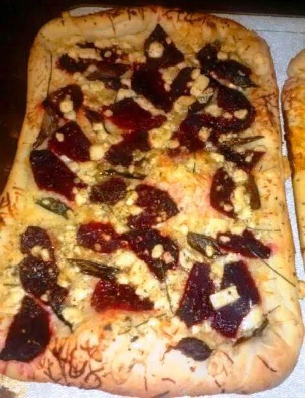 Beet, Gorgonzola, And Purple Basil Pizza