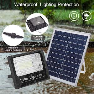 Proiector solar 300 W, 125 LED, cu panou solar si telecomanda