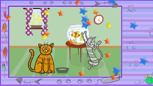 キッズパズル。面白い猫