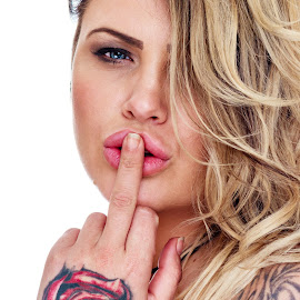 Shhhh Off by Vincent Yates - People Portraits of Women ( blonde, tattoos, one eye, lips, blue eyes,  )