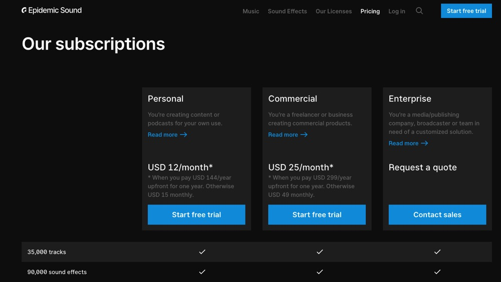 Epidemic Sound has different subscriptions depending whether you require personal or commercial use