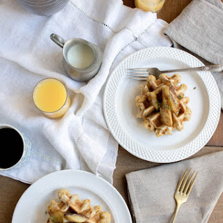 Savory Cheddar Waffles with Sautéed Honey Apples
