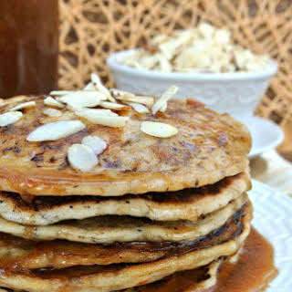 Vegan Buttermilk Pancakes with Almond Butter Maple Syrup.