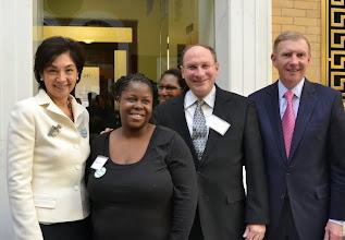 Photo: Justice Nan Duffly (Supreme Judicial Court), Charlotte Julce, Justice Ralph Gants (Supreme Judicial Court), and BBA President Paul Dacier.