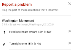 Report incorrect driving directions screenshot 2