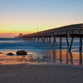 Pier Reflections by Tim Azar - Landscapes Sunsets & Sunrises ( water, shore, reflection, deerfield beach, hdr, waves, tim azar, ocean, beach, storm, landscape, hdr efex pro 2, coast, high tide, deerfield beach pier, sky, florida, tide, shoreline, pier, sunrise, dfine )