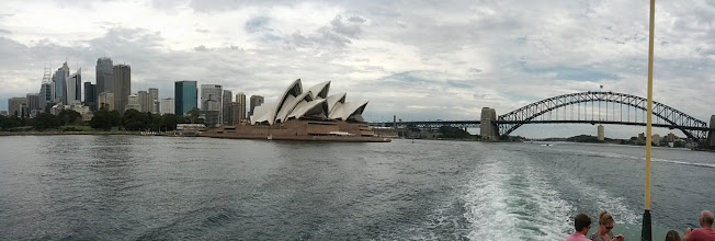 Photo: Sydney!  We spent a couple days walking around Sydney, learning about the history of downtown and the Rocks especially, but were feeling like we'd seen enough tall buildings and museums lately.  So we headed to the beach.  This photo was taken from the ferry to Manly beach.