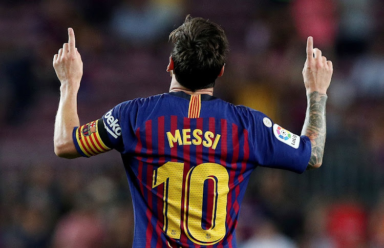 Barcelona's Lionel Messi celebrates scoring their third goal against Alaves at Camp Nou in Barcelona on August 18 2018. Picture: REUTERS/ALBERT GEA