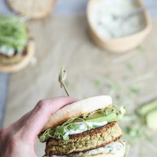 White Bean Zucchini Burgers with Basil Green Olive Aioli.