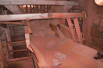 Photo: Beneath the pocket, where a conveyor belt carried the ore to the crusher.