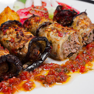 Meatballs Wrapped in Roasted Eggplant Slices.
