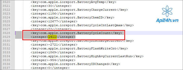Mở tài liệu trên Notepad và tìm dòng BatteryCycleCount