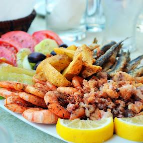 Greek tavern fish plate by Daniela Elena - Food & Drink Plated Food ( plate by the sea, kalamari, beautiful food, greek food, schrimps )
