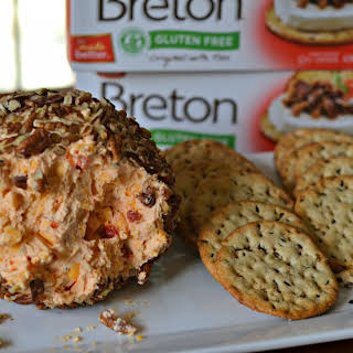Cheddar and Roasted Red Pepper Cheeseball.