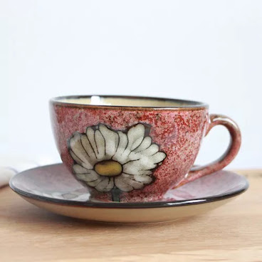 Red flower cup & saucer