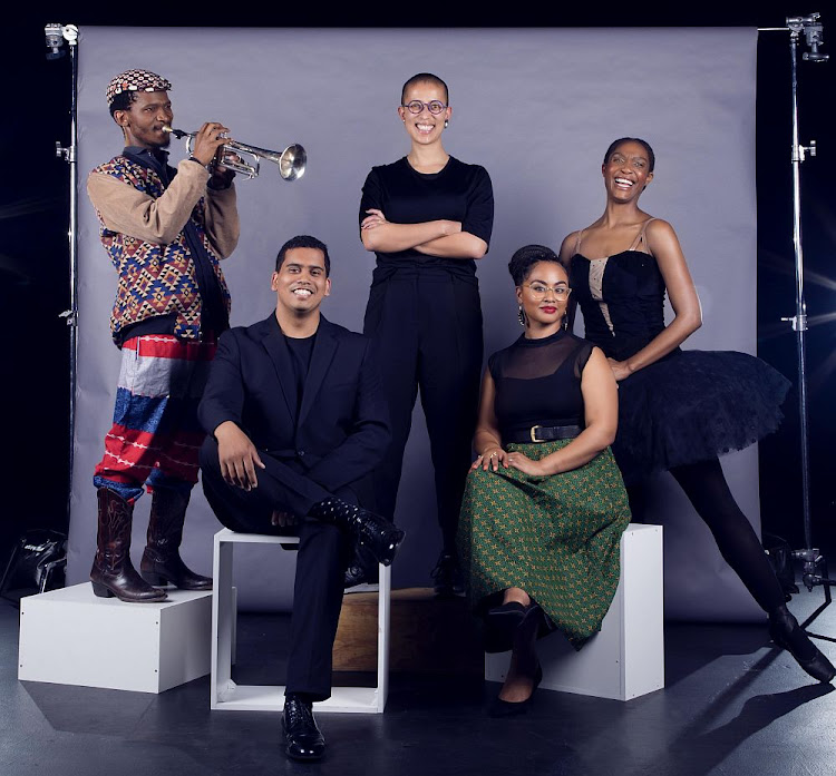 The Standard Bank Young Artist award winners for 2019 are back, from left, Mandla Mlangeni (Jazz), Gabrielle Goliath (Visual Art), Kitty Phetla (Dance), front Megan-Geoffrey Prins (Music) and Amy Jephta (Theatre)