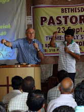 Photo: Teaching with Pastor Pradeep as my interpreter.