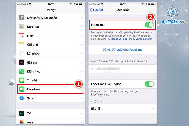 Kích hoạt Facetime trên iPhone, iPad