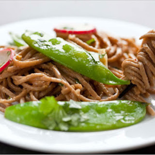 Stir-Fried Snow Peas With Soba Noodles.