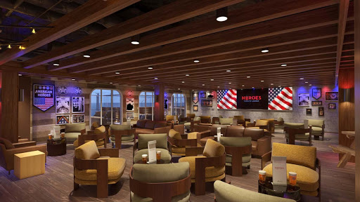 Carnival's newest bar concept, the Heroes Tribute Bar, features all-American decor with the logos of the five armed service branches of the U.S. military as well as patriotic and military memorabilia (rendering).