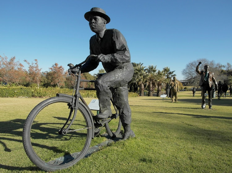 The Sol Plaatje bicycle sculpture by Egon Tania and Guy du Toit, seen here at the Oliewenhuis Museum in Bloemfontein. Picture: Sean O'Toole/Sunday Times