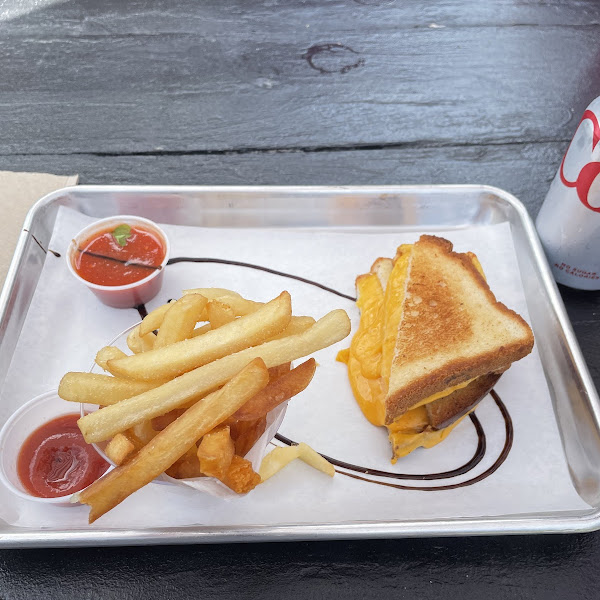 Classic grilled cheese, sea salt fries, and some tomato soup for dipping!