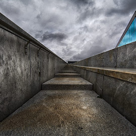 S t a i r s by Manu Heiskanen - Uncategorized All Uncategorized ( blue, light, cloudporn, stairs, hdr, paulinawolekpardon, shadows, clouds, grey )